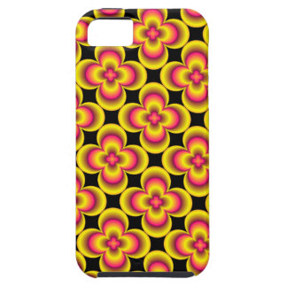 Caja amarilla rosada de la flor funda para iPhone 5 tough