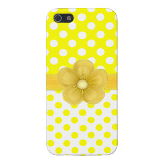 Caja amarilla soleada del iPhone 5 del lunar iPhone 5 Cárcasas
