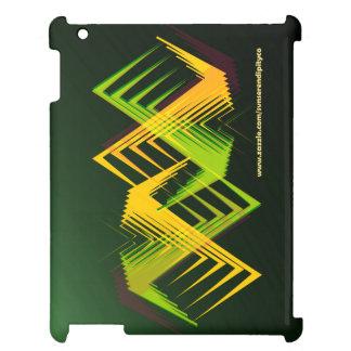 Caja amarilla verde del iPad del zigzag