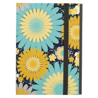 Caja amarilla y azul linda del iPad de la flor