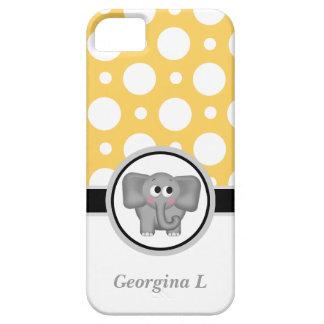 Caja amarilla y blanca del elefante del lunar del  iPhone 5 Case-Mate protectores
