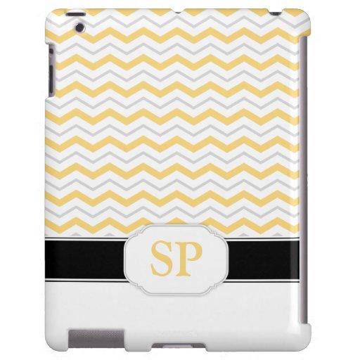 Caja amarilla y gris del iPad 2/3/4 del monograma
