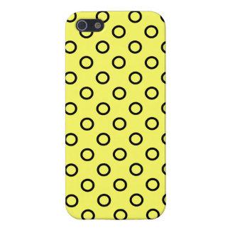 Caja amarilla y negra del círculo de la polca iPhone 5 carcasa