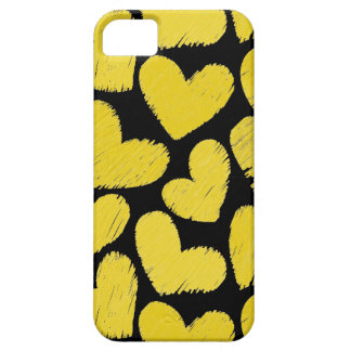 Caja amarilla y negra del iPhone 5 de los corazone iPhone 5 Carcasas