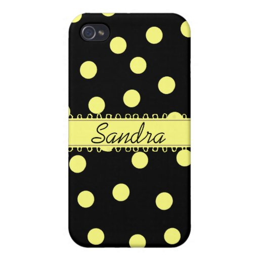 Caja amarilla y negra del iPhone de Polkadot iPhone 4/4S Fundas