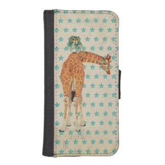 Caja ambarina de la cartera de la jirafa y del búh fundas tipo cartera para iPhone 5
