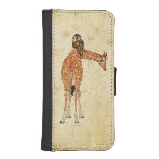 Caja ambarina de la cartera del búho de la jirafa  fundas cartera para teléfono