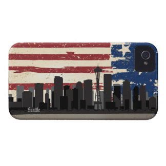 Caja americana de Blackberry del paisaje urbano de iPhone 4 Case-Mate Protectores