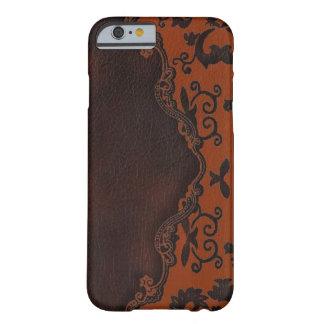 caja anaranjada de cuero occidental del iPhone 6 Funda De iPhone 6 Barely There