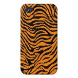 caja anaranjada de Iphone de la raya de la cebra iPhone 4 Protectores