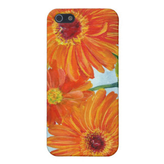 Caja anaranjada de la mota de las margaritas del G iPhone 5 Fundas