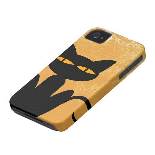 Caja anaranjada de Swirly del gato negro Case-Mate iPhone 4 Fundas