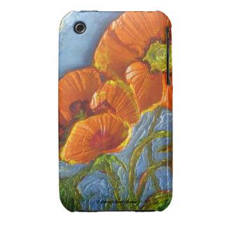Caja anaranjada del iPhone 3 de las amapolas Case-Mate iPhone 3 Cárcasa