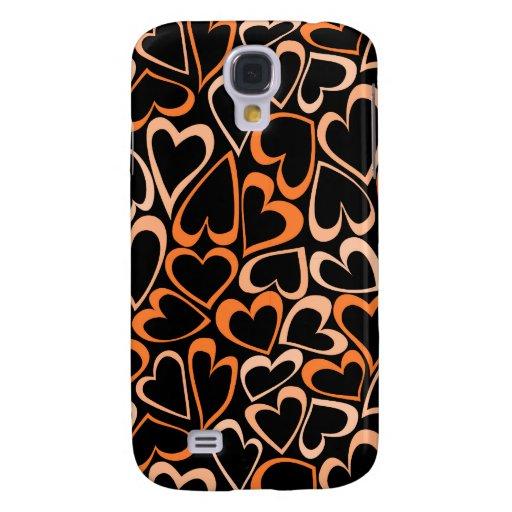 Caja anaranjada del iPhone 3 de los corazones Funda Para Galaxy S4