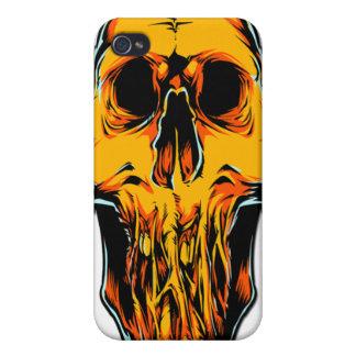 Caja anaranjada del iPhone 4 del cráneo del zombi iPhone 4 Coberturas