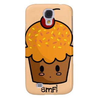 Caja anaranjada del iPhone de la magdalena