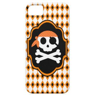 Caja anaranjada del teléfono del gótico del pirata iPhone 5 Case-Mate protector