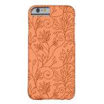 Caja anaranjada floral elegante del iPhone 6 Funda De iPhone 6 Slim