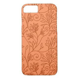 Caja anaranjada floral elegante del iPhone 7 Funda iPhone 7