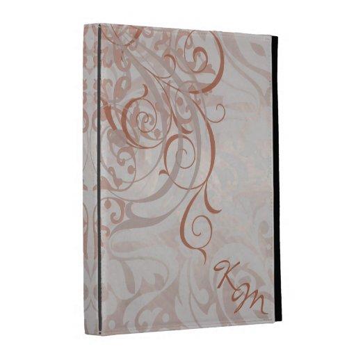 Caja anaranjada rococó del folio de Ipad del vinta