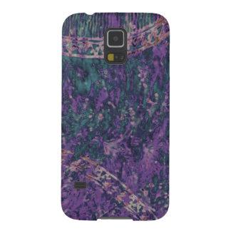 Caja androide del teléfono del batik púrpura y carcasas de galaxy s5