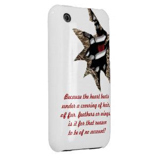 Caja animal de la baya del negro del corazón iPhone 3 Case-Mate cobertura