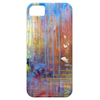 Caja azul abstracta del teléfono de los goteos iPhone 5 protector