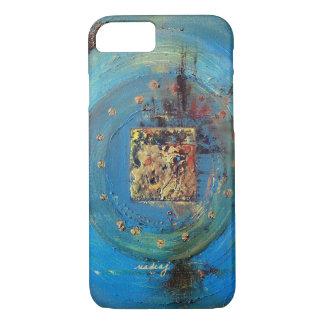 Caja azul abstracta del teléfono del arte de funda iPhone 7