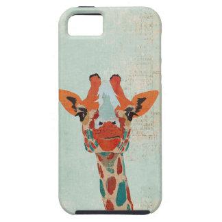 Caja azul ambarina del iPhone de la jirafa que mir iPhone 5 Cárcasa