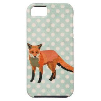 Caja azul ambarina del iPhone del Fox Polkadot iPhone 5 Fundas