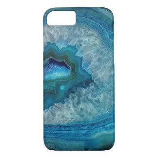 Caja azul bonita de la piedra preciosa de Geode Funda iPhone 7