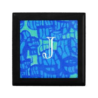 Caja azul brillante de la baratija con la opción a joyero cuadrado pequeño
