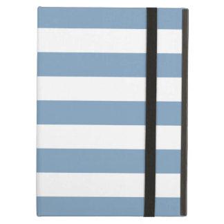 Caja azul claro del aire del iPad de las rayas