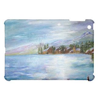 Caja azul de Ipad del lago