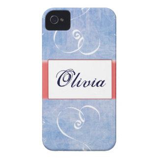 Caja azul de IPhone 4 del nombre del corazón iPhone 4 Funda