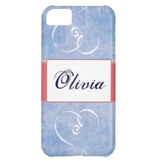 Caja azul de IPhone 5 del nombre del corazón