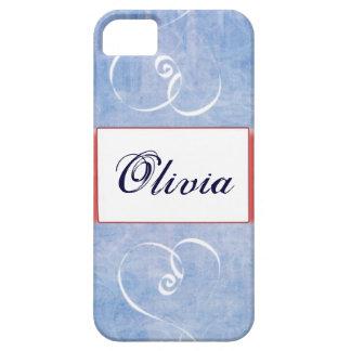 Caja azul de IPhone 5 del nombre del corazón iPhone 5 Case-Mate Funda