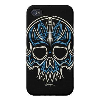 caja azul de Iphone del cráneo de la tela a rayas  iPhone 4/4S Carcasa