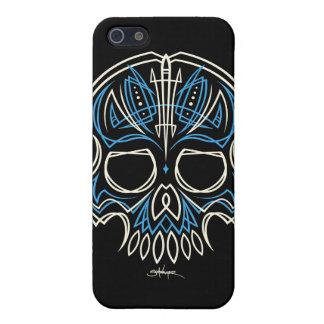 caja azul de Iphone del cráneo de la tela a rayas  iPhone 5 Carcasa