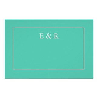 Caja azul de la aguamarina con el detalle blanco póster
