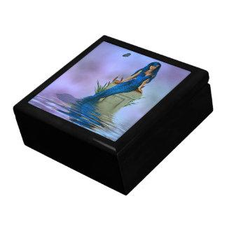 Caja azul de la baratija de la sirena joyero cuadrado grande
