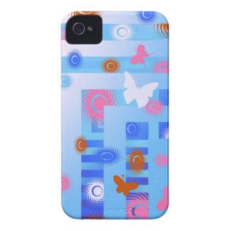 caja azul de la casamata de la mariposa iPhone 4 cobertura