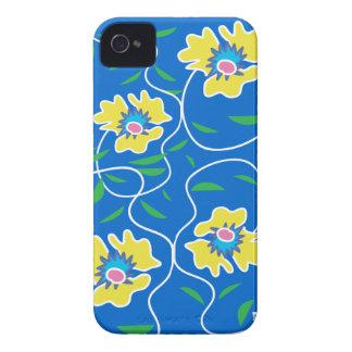 Caja azul de la casamata del iPhone 4 de la flor Case-Mate iPhone 4 Protector