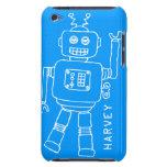 Caja azul de la diversión y blanca nombrada robot funda iPod
