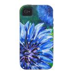 caja azul de la flor del botón del soltero del iPh Case-Mate iPhone 4 Fundas