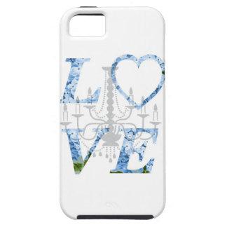 Caja azul de la lámpara del Hydrangea del AMOR iPhone 5 Case-Mate Cobertura