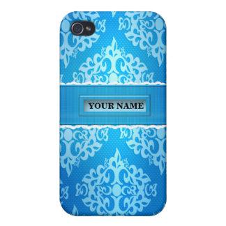 Caja azul de la mota de Iphone 4/4S del damasco iPhone 4 Carcasas
