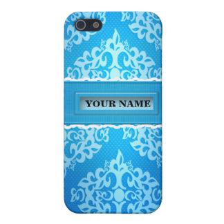 Caja azul de la mota de Iphone 4/4S del damasco iPhone 5 Fundas
