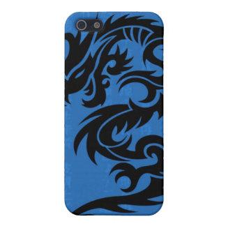 Caja azul de la mota del iPhone 4 4S del dragón iPhone 5 Cárcasa