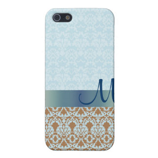 Caja azul de la mota del iPhone del monograma del  iPhone 5 Funda